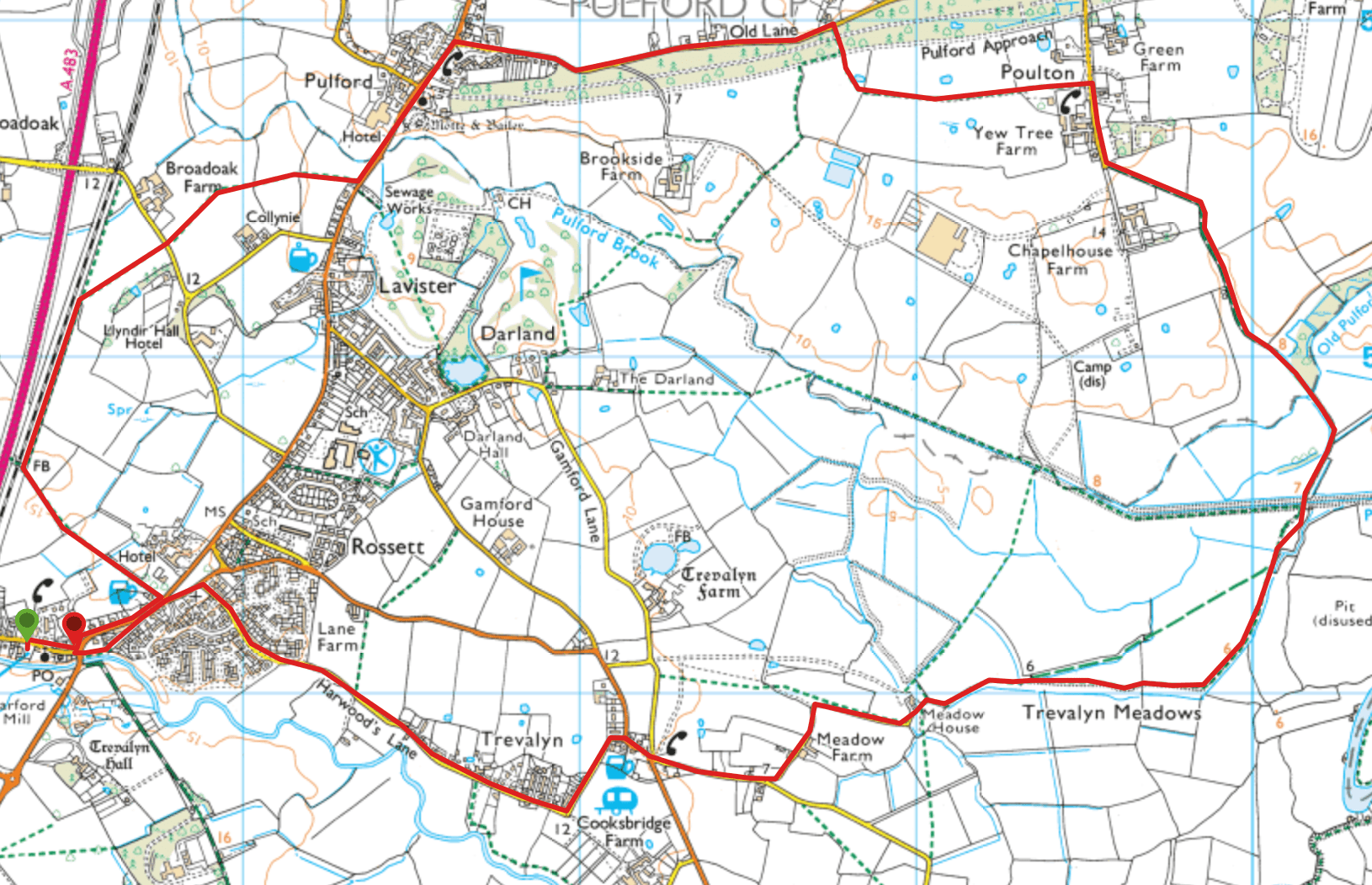 Pulford, Poulton and Trevalyn Meadows Map.