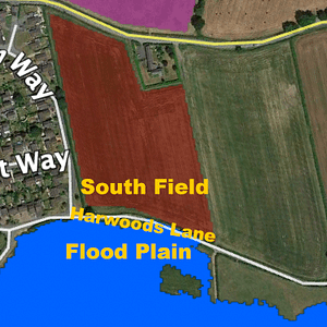 Map showing boundary of flood plain between Harwoods Lane and the south Bellis field