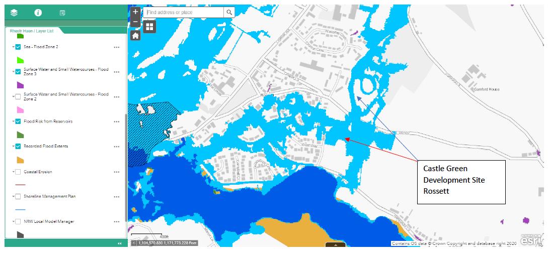 Rossett Flood Map
